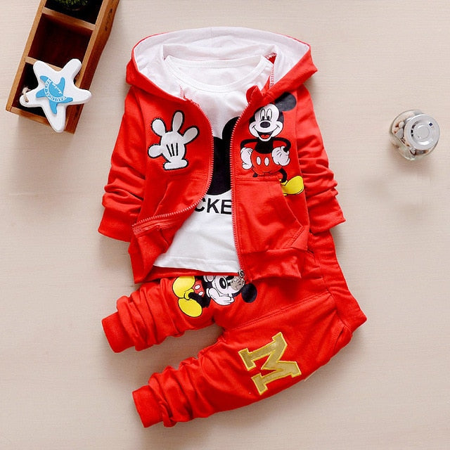 3pcs Kids Baby Boys Girl Cartoon Outfit Hooded Coat+Tops+Pants Cotton Clothes