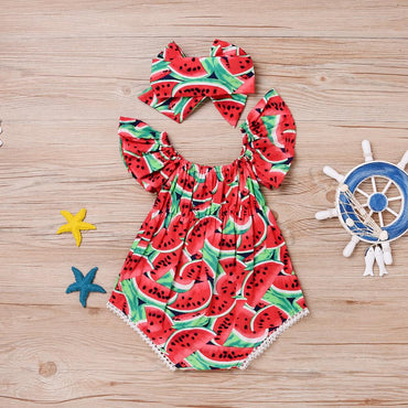 Newborn Baby Girl Onesie Watermelon Bodysuit and Headband Set