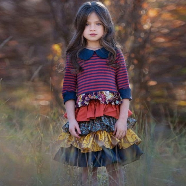 Girls Dress Flower Pastoral Style Striped Long Sleeved Dress