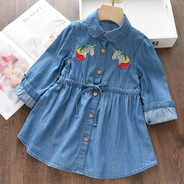 Lovely Style Toddler Girls Pocket Long Sleeve Cotton Dress