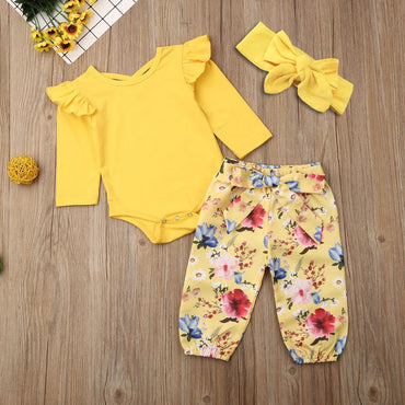 Newborn Baby Girl Clothes Cotton Romper Flower Pants and Headband Infant Girl Outfits Set