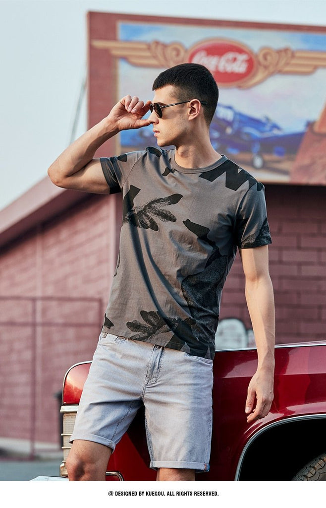 Men Premium Cotton Print Streetwear Short Sleeve T-Shirt