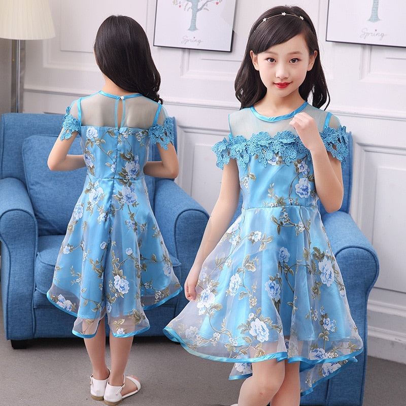Girls Flower Dress Fancy Princess Fashion Party Dress