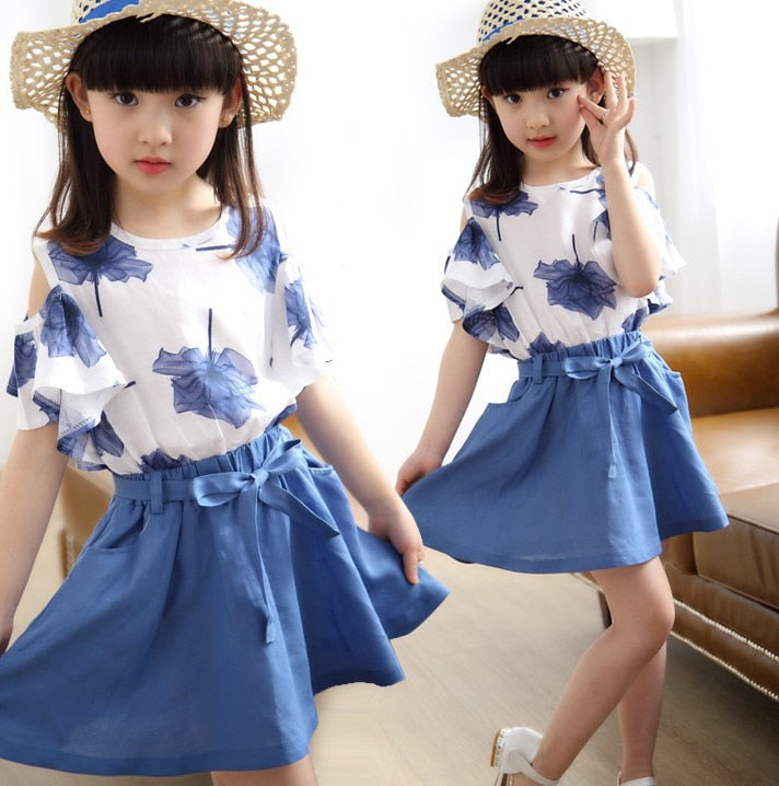 Toddler Girl Maple Print Top and Bow Tie Skirt Sets
