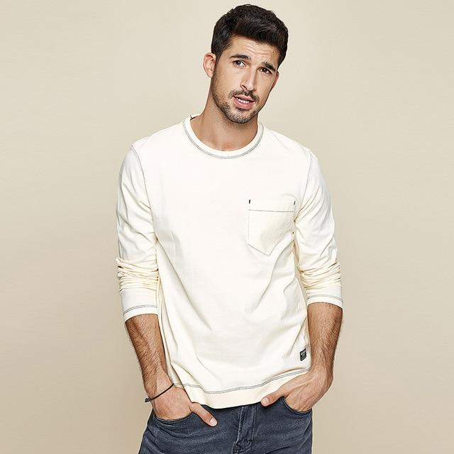 Men Cotton Plain Pocket Long Sleeve T-Shirt