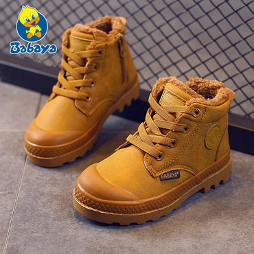 Boy Boots Sneakers Leather Rubber Anti Slip Fashion Lace Up Shoes