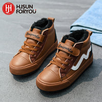 Premium Leather Boys Warm Plush High Top Sneakers