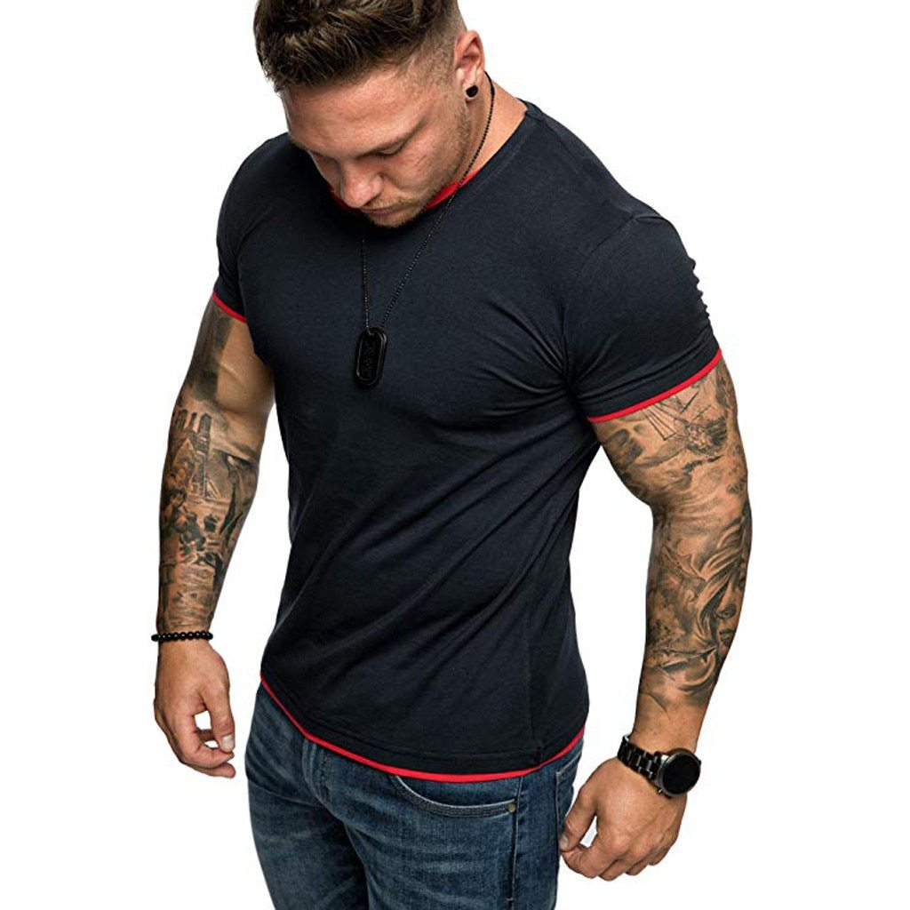 Men Fashion Casual Solid Short Sleeved T-Shirt