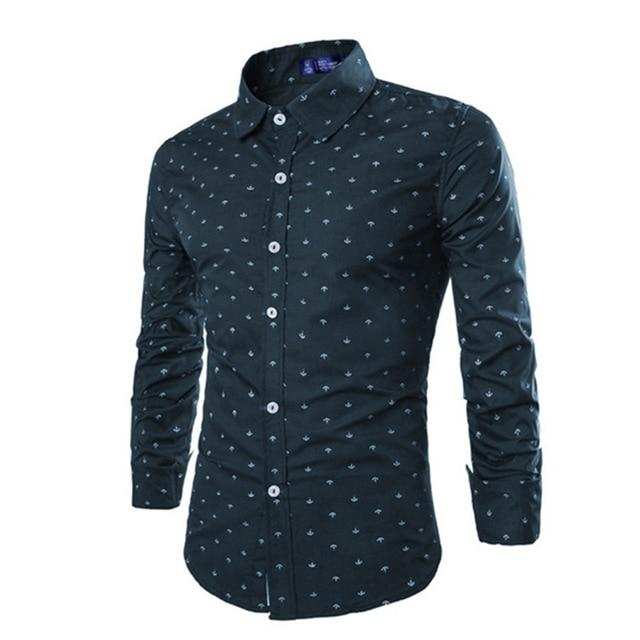 Men Long Sleeve Slim Fit Turn Down Collar Shirt