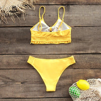 Women Ruffled Bikini Set Sexy Cutout Bowknot Elastic Swimsuit