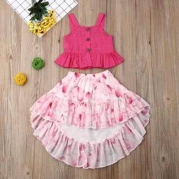 Baby Girl Clothes Set Strap Ruffle Tops and Flower Skirt Infant Girl Outfits Set