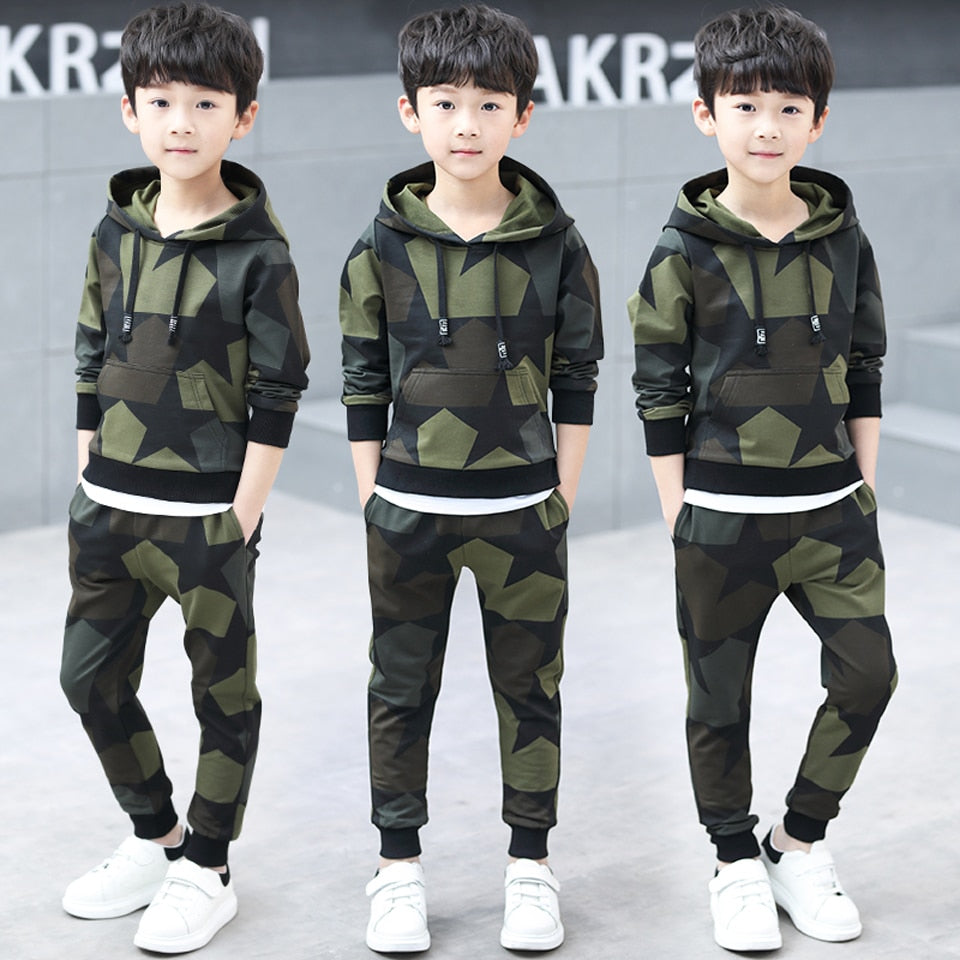 Boy Tracksuit Clothes Set Cotton Sport Camouflage Hoodie and Pants