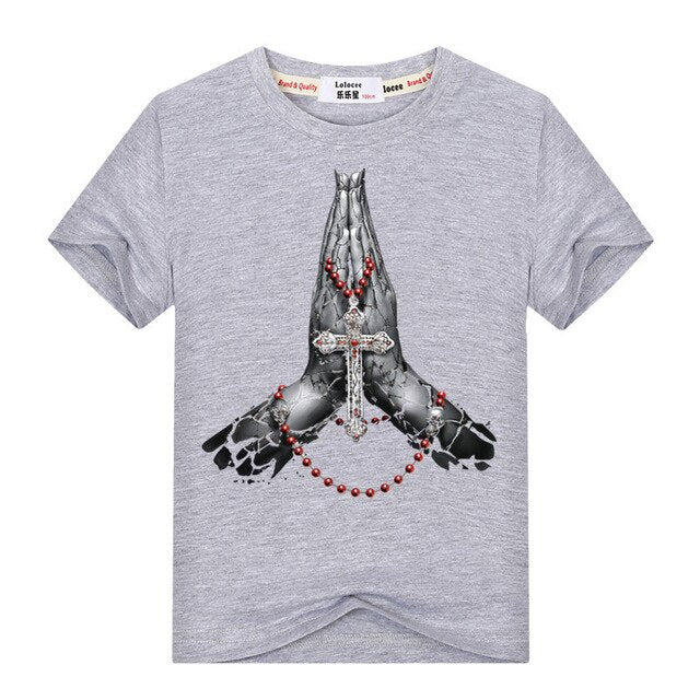 Boys High Quality Cotton The Hand Of Prayer T-Shirt