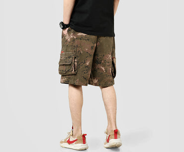 Men Camouflage Cotton Side Pockets Casual Shorts