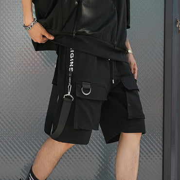 Hip Hop Men Ribbons Streetwear Bermuda Multi Pocket Shorts