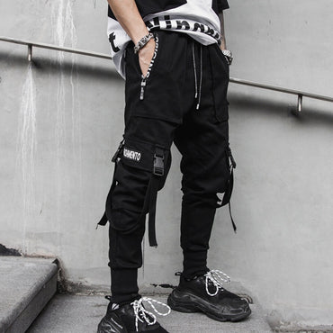Men Cool Style Multi Pockets Ribbon Streetwear Sweatpants