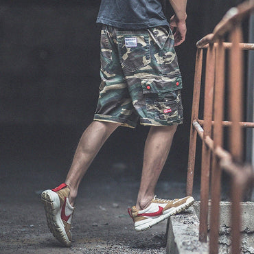 Men Side Pocket Cool Camouflage Slim Fit Cargo Shorts