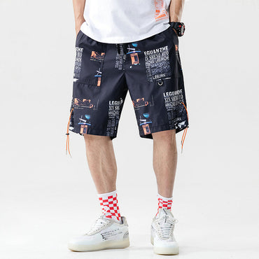 Men Printing Hip Hop Knee Length Casual Streetwer Shorts
