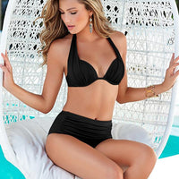 Sexy High Waist Push Up Spaghetti Strap Bikini Set