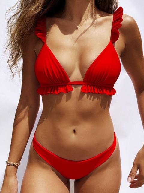 Padded Push Up Bikini Set Underwire Flower Ruffles Swimsuit
