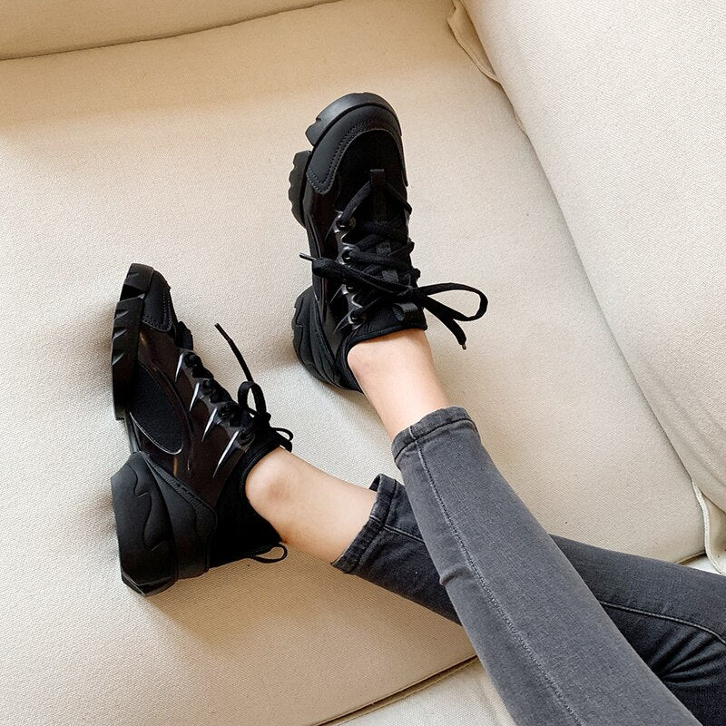 Women Luxury Real Leather Leopard Thick Sole Casual Sneakers