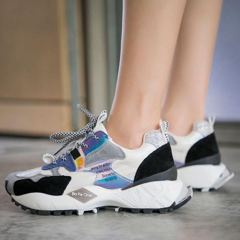 Luxury Fashion Women Real Leather Colorful Platform Sneakers