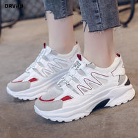 Women Casual Shoes Fashion Lace Up Air Mesh Platform Sneakers