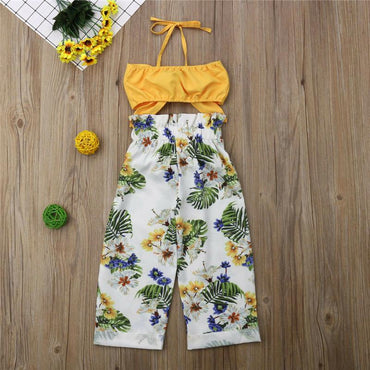 Baby Girl Floral Outfits Crop Tops and Flower Pants Kids Girl Clothes