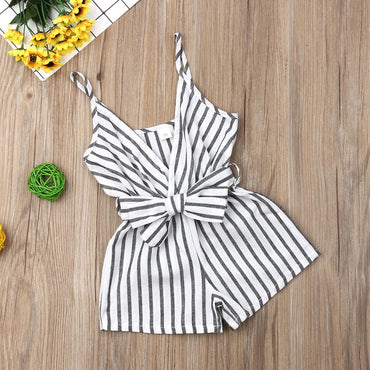 Newborn Baby Girl Onesie Striped Bowknot Romper Infant Girl Outfits