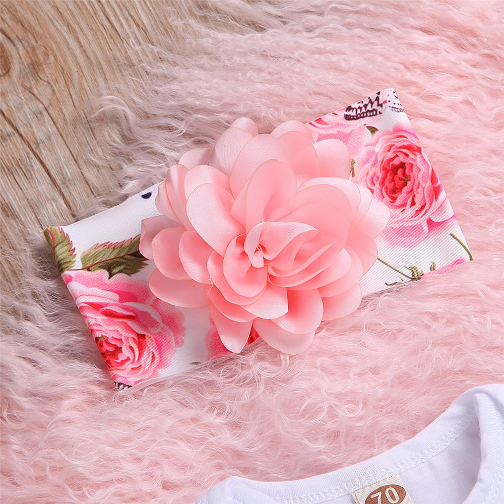 Newborn Baby Girl Clothes Long Sleeve Romper and Flower Pants Headband Hat Outfits Set