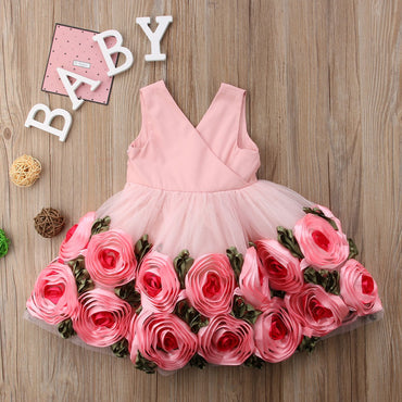Baby Girls Princess Dress Lace Rose Infant Girl Party Tutu Dress