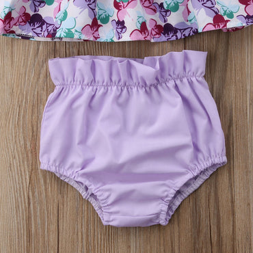 Newborn Baby Girl Clothes Set Floral Tops with Shorts Headband Outfit Set