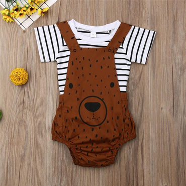Newborn Baby Boy Clothing Set Cute Bear Stripe Top and Bib Pants