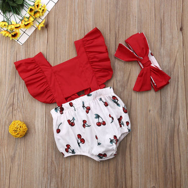 Newborn Baby Girl Ruffle Cherry Bodysuits and Headband Infant Outfits Clothes Set
