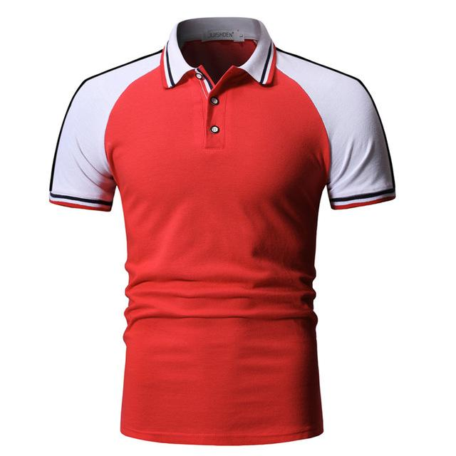 Men Patchwork Slim Fit Short Sleeve Polo Shirt