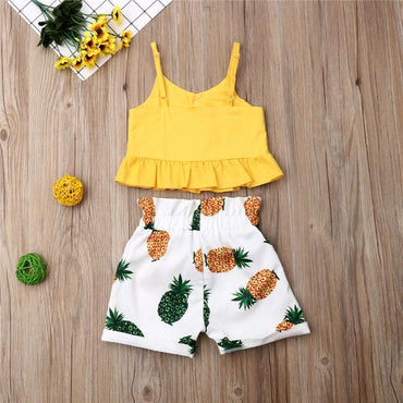 Baby Girl Ruffle Crop Tops and Pineapple Shorts Outfit Clothes Sets