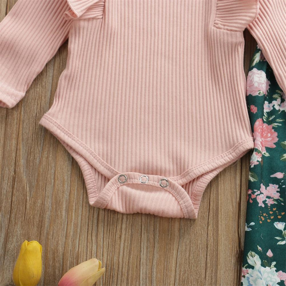 Newborn Baby Girl Clothing Set Knitted Cotton Romper Tops Flower Pants Headband Outfits