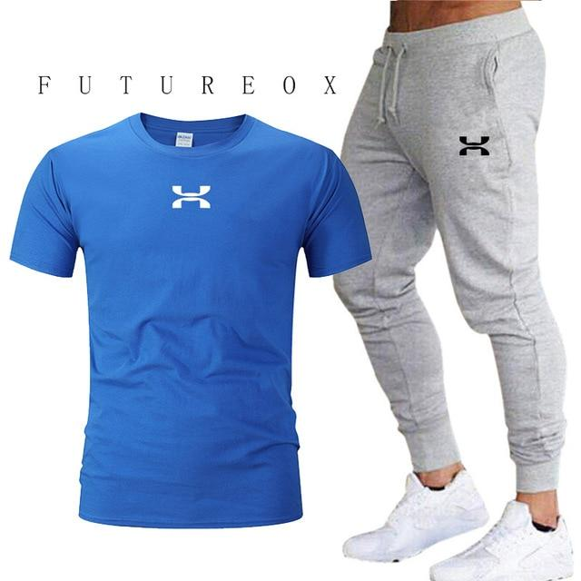 Men Cotton Short Sleeve T-Shirt and Sport Pants Set