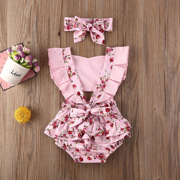 Newborn Baby Girl Clothes Set Flower Romper and Headband Baby Outfit Set