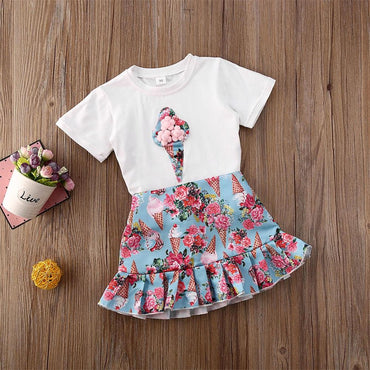 Baby Girls Outfit Set Short Sleeve Tee and Ruffles Floral Skirts