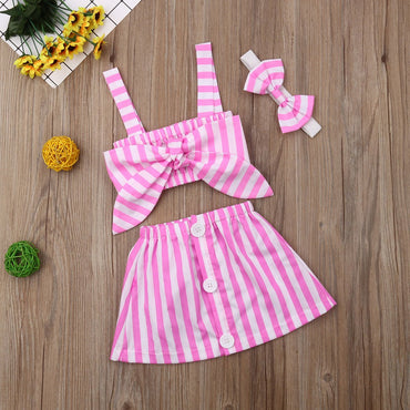 Baby Girl Clothes Stirped Crop Top and Button Skirt with Headband Outfits Set