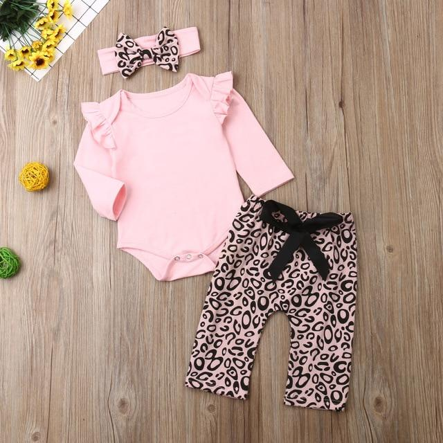 Newborn Baby Girl Clothes Romper and Pants Headband Outfits Set