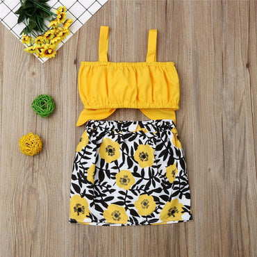 Newborn Baby Girl Clothes Cute Vest Tops and Flower Skirt Infant Girl Outfit Set
