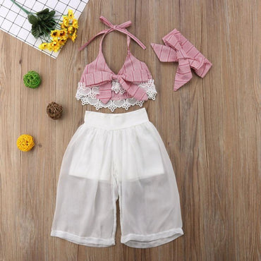 Baby Girls Clothes Set Lace Crop Tops with Pants and Headbands Kids Girl Outfits Set