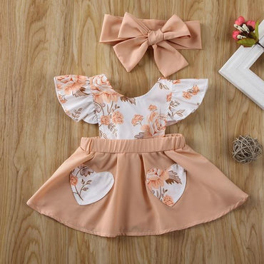 Newborn Baby Girl Clothes Flower Dress and Headband Outfits Set