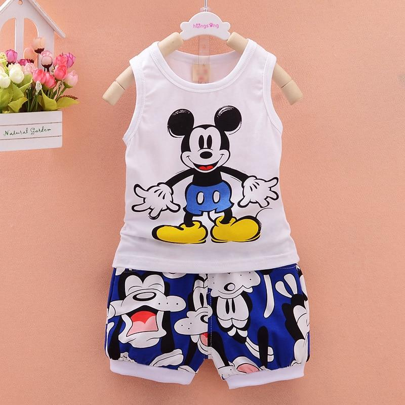 Baby Boy Clothes Cute Cartoon Tops Vest and Shorts
