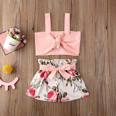 Baby Girl Clothes Set Bow Crop Tops and Flower Shorts Toddler Girl Outfit Set
