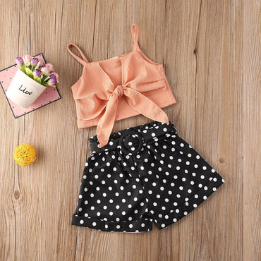 Baby Girl Clothes Bowknot Crop Tops and Polka Dot Shorts Infant Girl Outfits Set