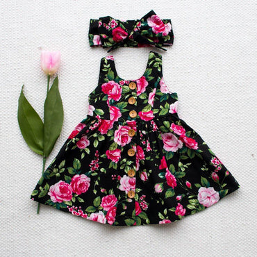 Baby Girls Dress Flower Princes Dress and Headband Infant Girl Outfits Set