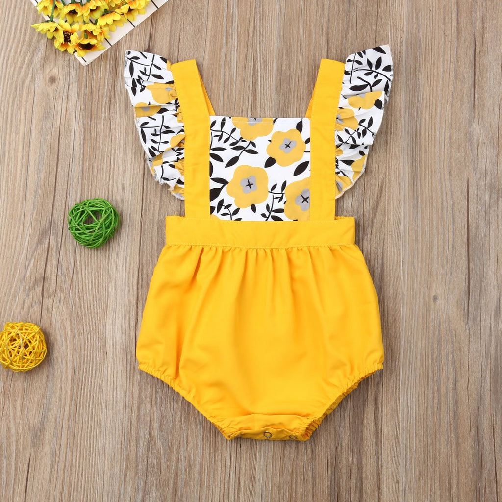 Newborn Baby Girl Clothes Fly Sleeve Sunflower Romper One-Piece Outfits